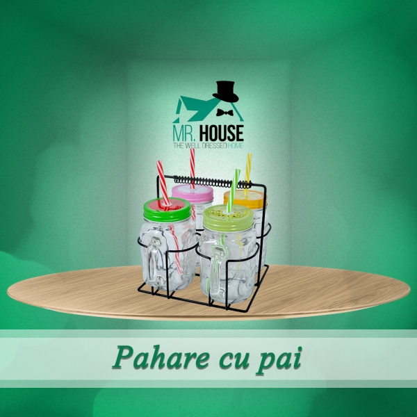 Set Pahare Cu Pai Si Suport Metalic – 450 ML